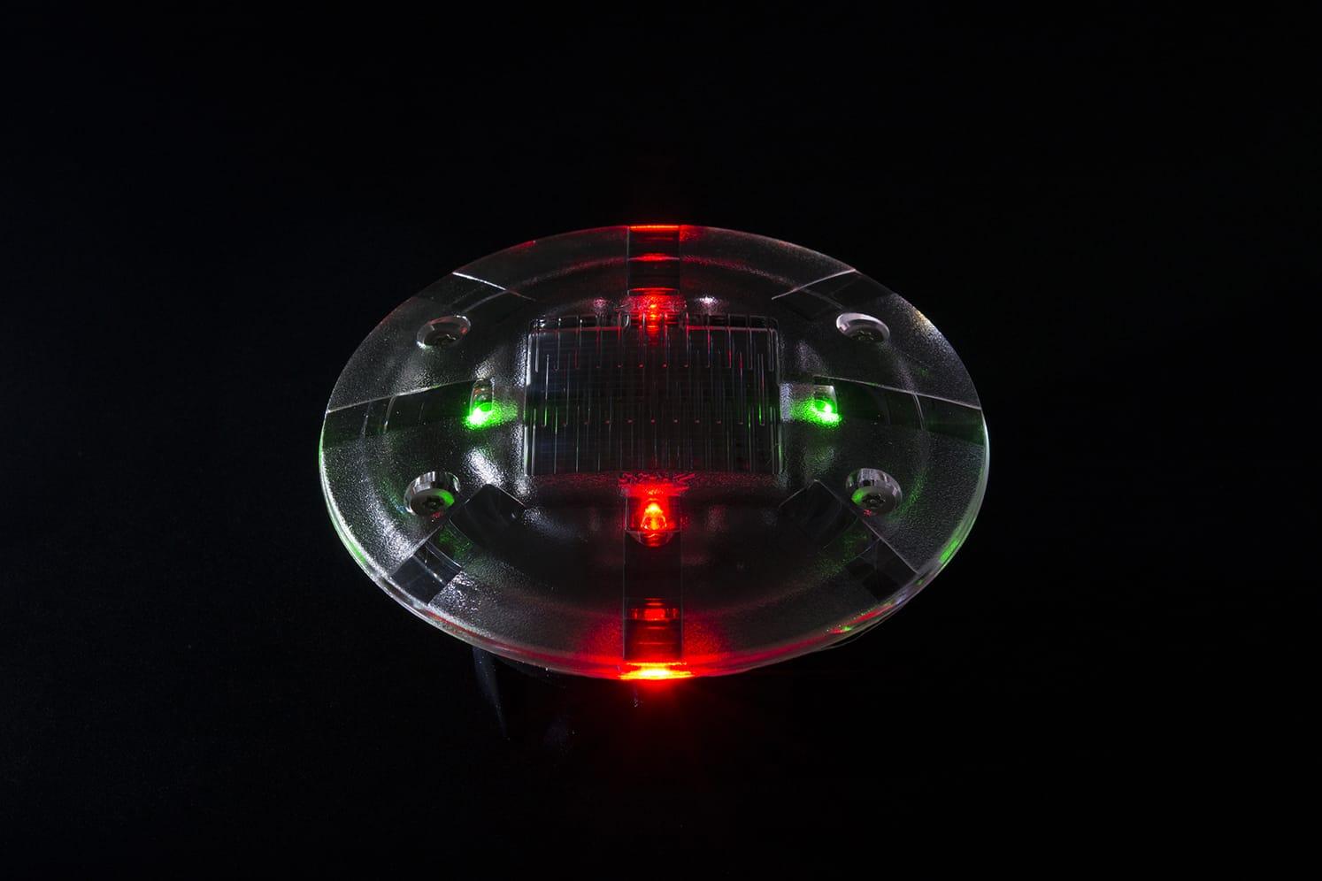 Plot LED solaire pietons velos ECO-35 rouge/vert