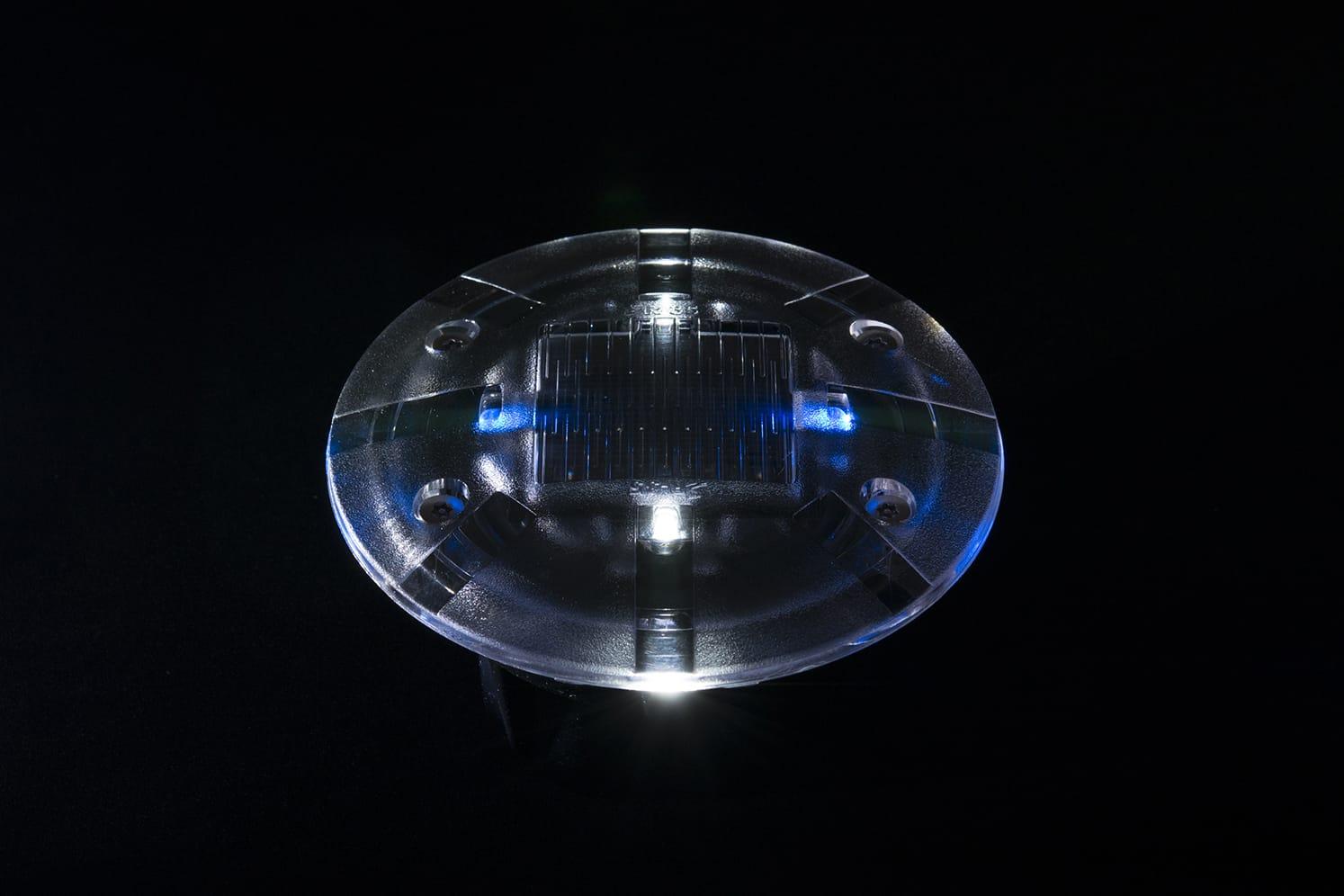 Plot LED solaire pietons velos ECO-35 blanc/bleu