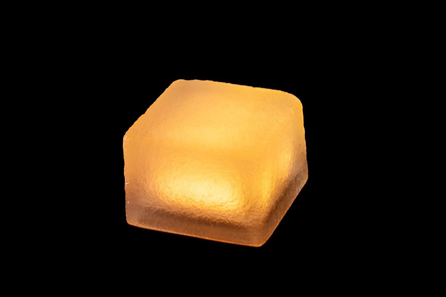 Pavé lumineux multicolore carré 100x100 : ECO-STONE99 ambre