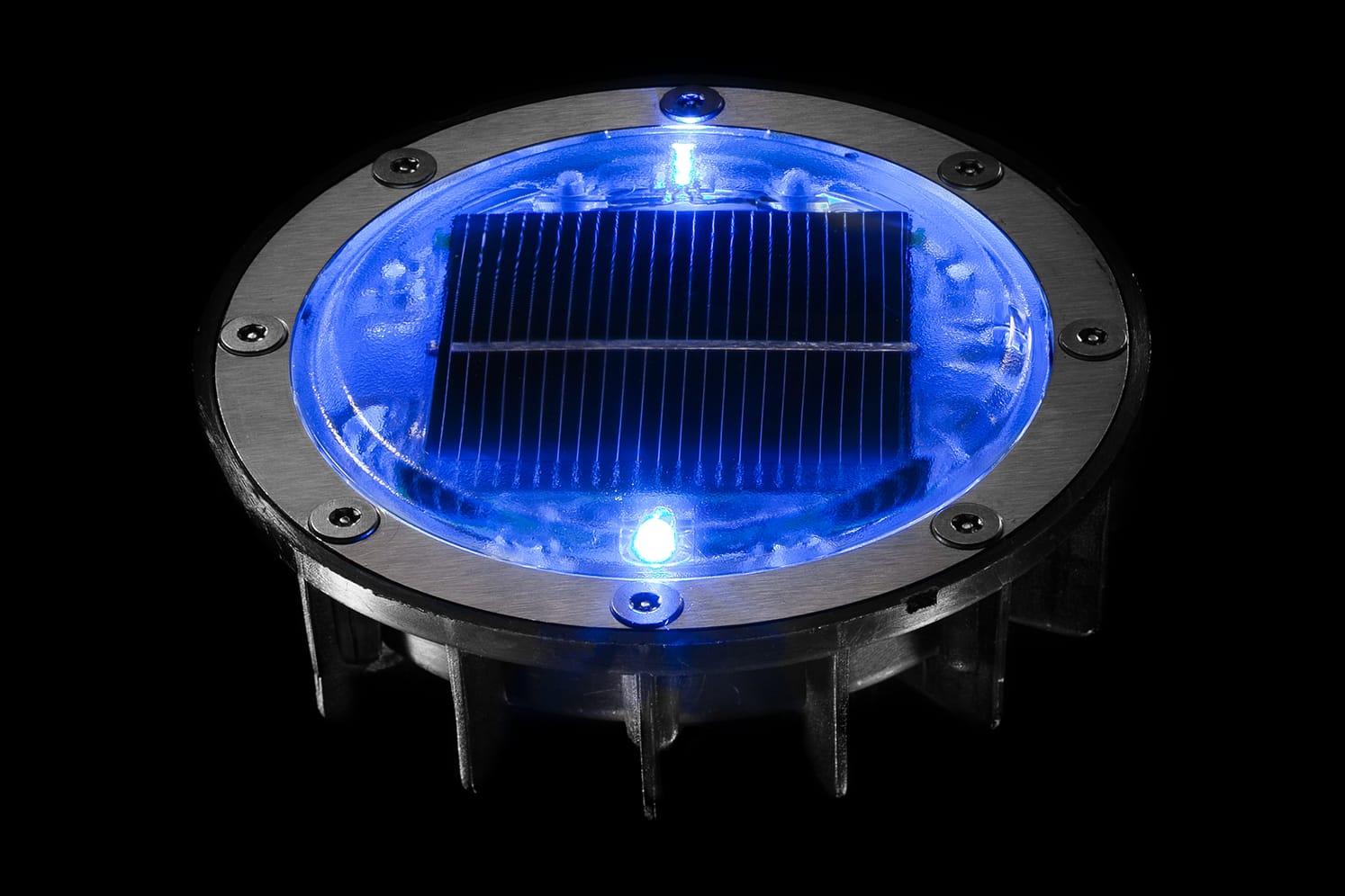 Plot lumineux solaire pour piétons, vélos, PMR ECO-128 bleu
