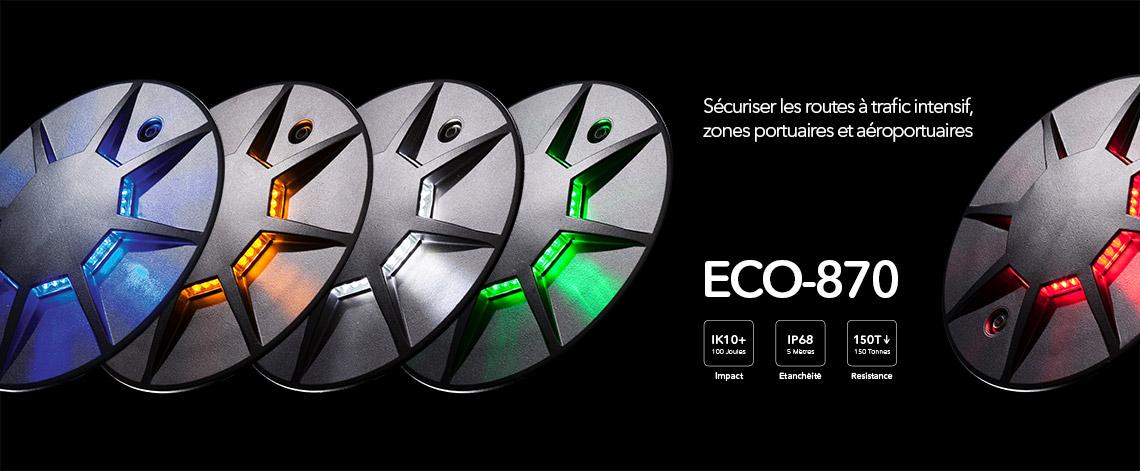 Plot routier LED 360º pour giratoire, parking, voirie, ECO-870